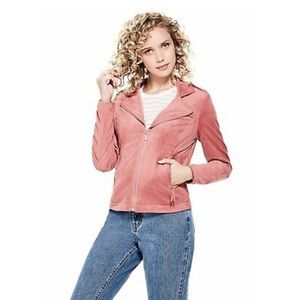Guess Soft Stretch Faux Suede Zip Up Fitted Jacket